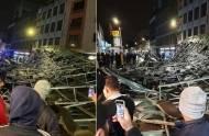 Huragan Brendan zerwał ogromny dach z jednego z budynków mieszkalnych w Slough i zmiażdżył samochody na ulicy [wideo]