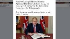 """Brexit: """"To fantastyczny moment"""" - wyznał Boris Johnson, składając swój podpis na umowie brexitowej"""