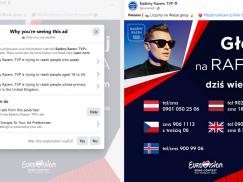 """TVP wykupiło reklamy na FB zachęcając Polaków w UK do oddania """"właściwego głosu"""" w Eurowizji 2021"""