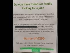 List od Czytelnika: Pracodawca daje duży bonus za polecenie osoby do pracy, a pracownikom płaci Minimum Wage