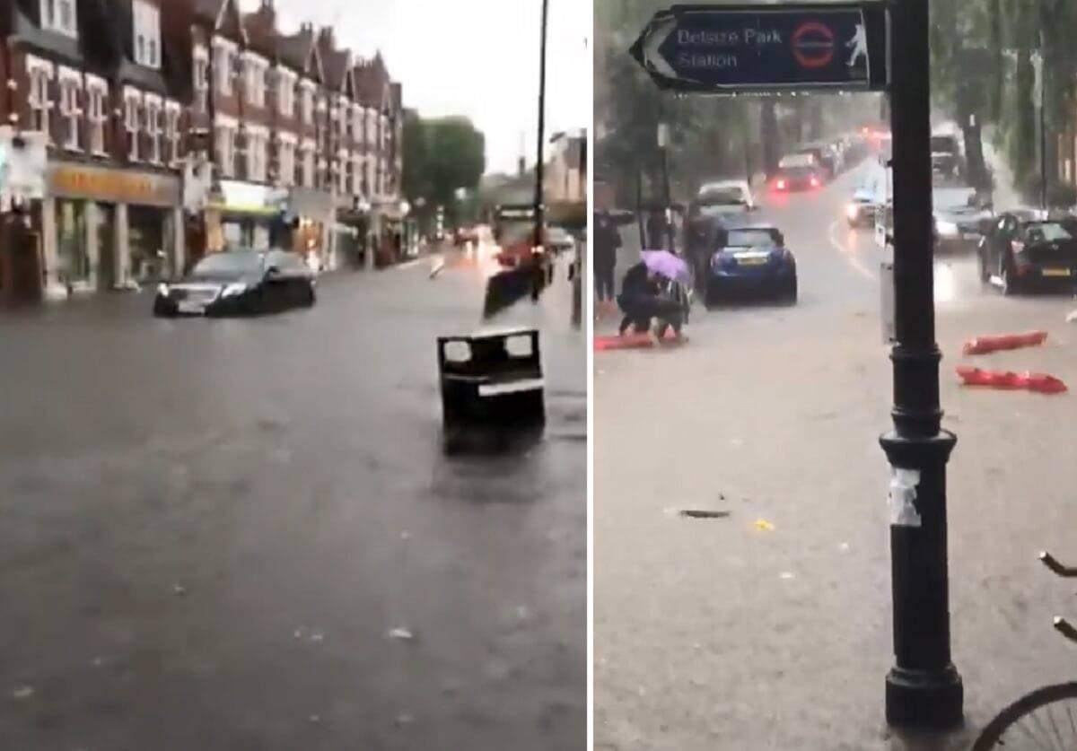 Powódź w Londynie wywołała chaos na drogach. Konieczne było zamknięcie stacji metra i kolejowych [wideo]